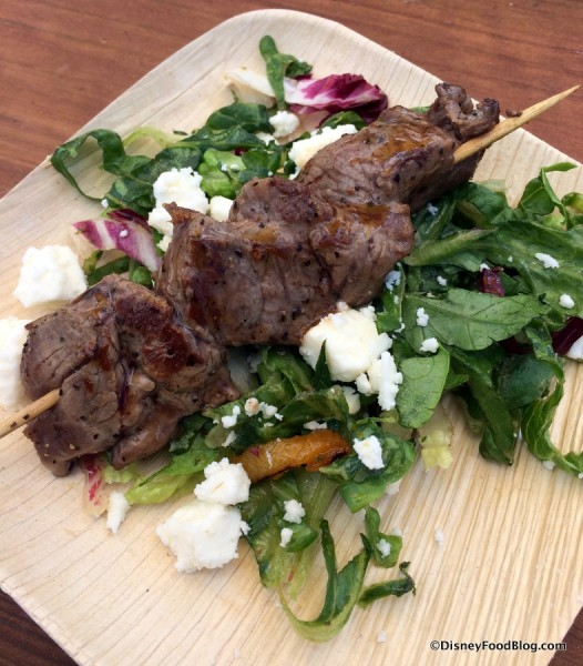 Grilled Beef Skewer with Romaine, Apricots and Feta Cheese