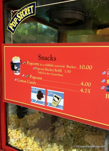 Popcorn Cart Menu with Refillable Bucket