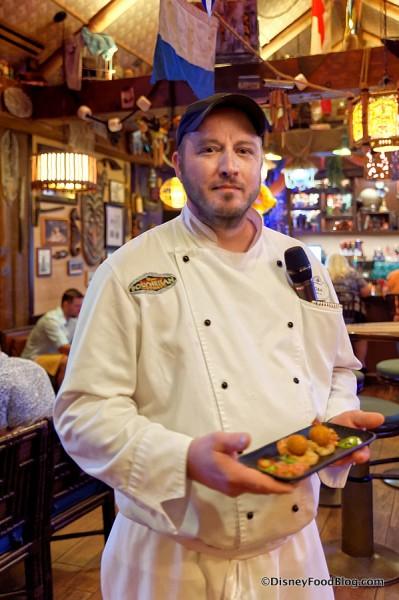 Disney Chef serving Deconstructed Shrimp
