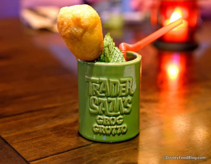 Welcome Drink: a Shrunken Zombie Head in a miniature glass
