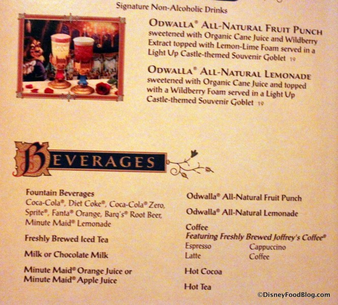 Menu -- Beverages -- Click to Enlarge