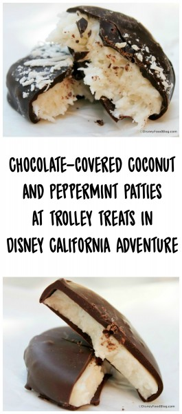 Chocolate-covered Coconut and Peppermint Patties at Trolley Treats in Disney California Adventure