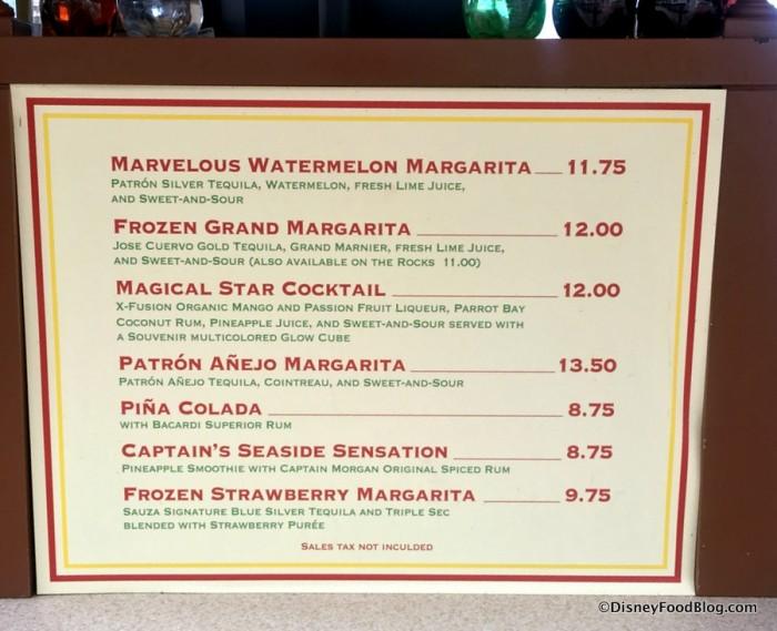 Joe's Margarita Menu