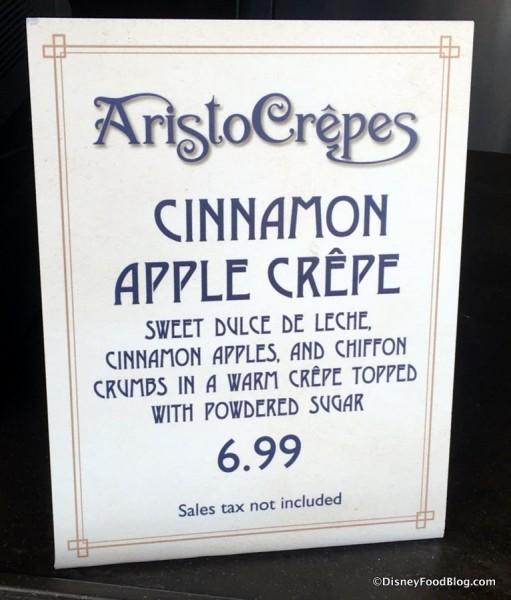 Cinnamon Apple Crepe sign