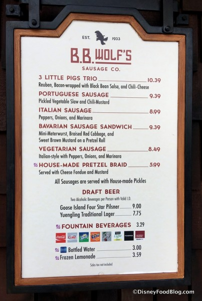 B.B. Wolf's Menu