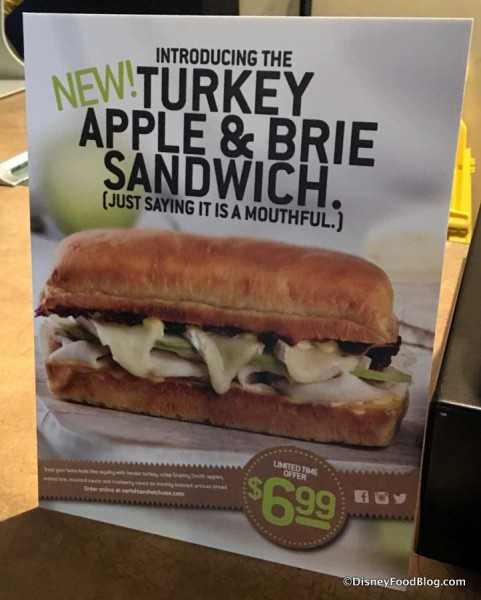 Turkey, Apple & Brie Sandwich sign