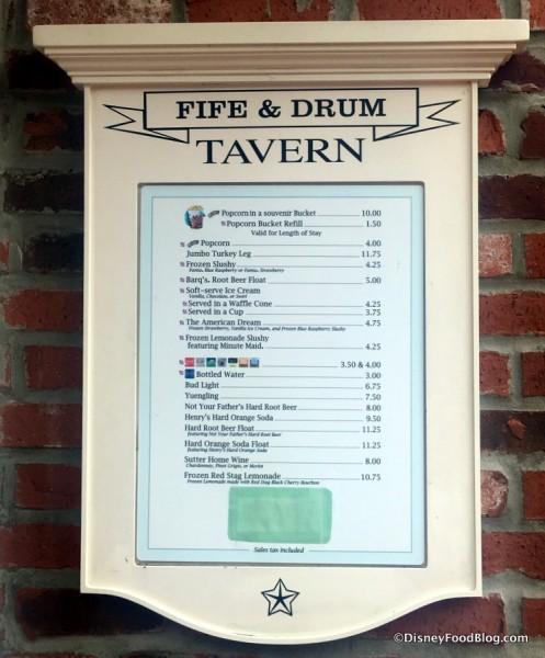 Fife and Drum Tavern Menu