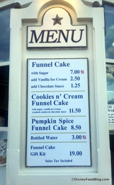 Funnel Cake Stand Menu