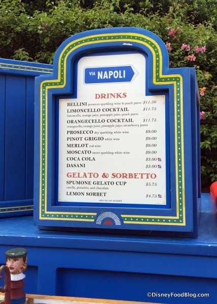 Menu for Epcot's Italy Stand