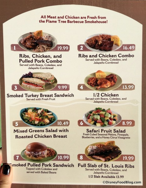 Flame Tree Barbecue Menu
