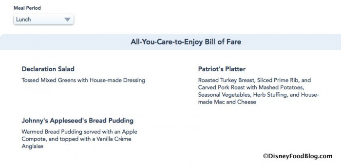 Screenshot of Liberty Tree Tavern Lunch Menu