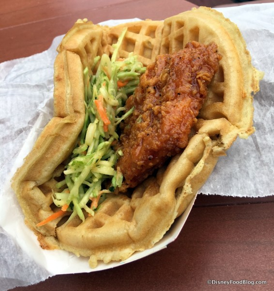 Sweet and Spicy Chicken Waffle Sandwich
