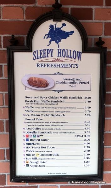 Sleepy Hollow Refreshments Menu