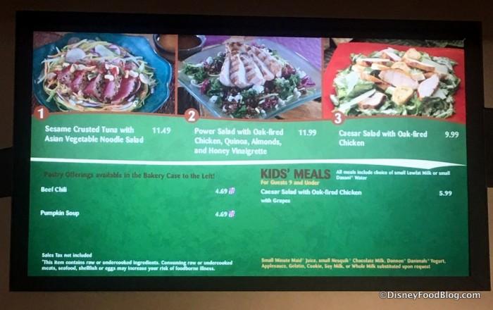 Sunshine Seasons menu