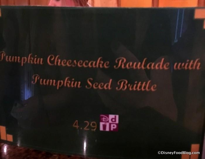 Pumpkin Cheesecake Roulade sign