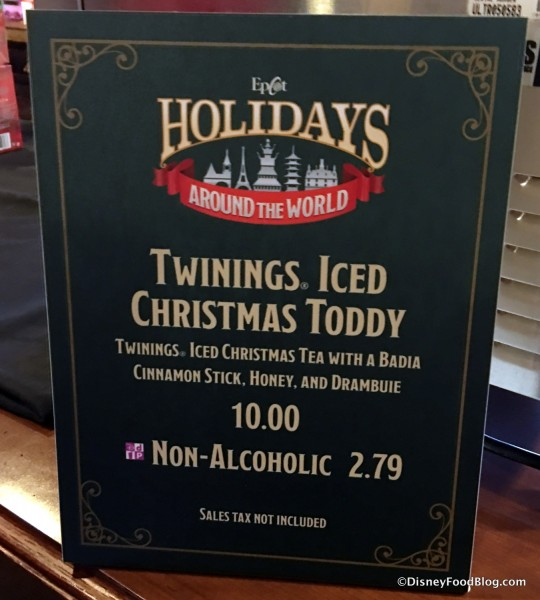 Iced Christmas Tea Toddy sign