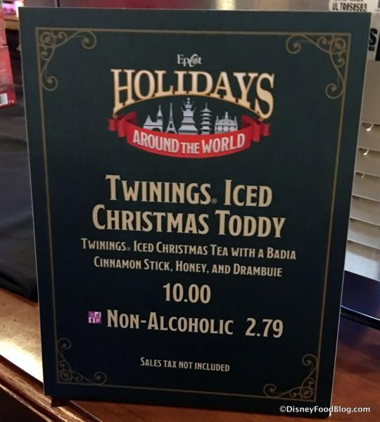 Iced Christmas Tea Toddy sign