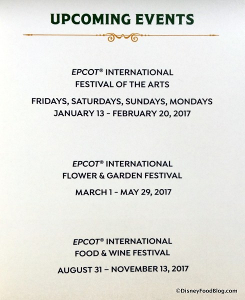 Epcot Festival Dates for 2017
