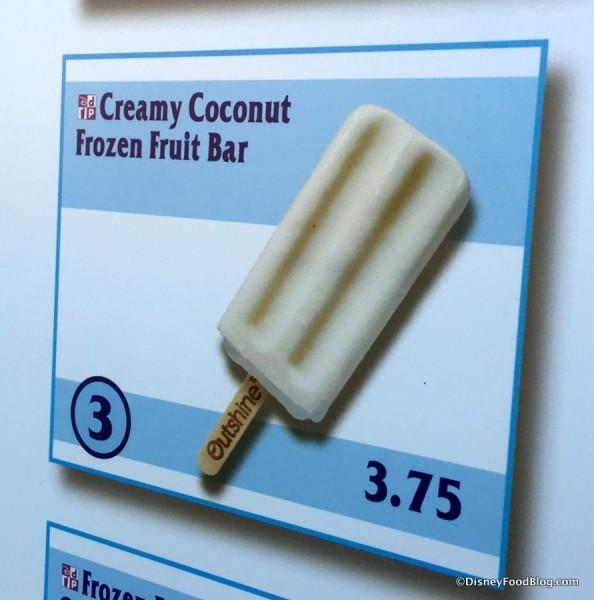 Creamy Coconut Fruit Bar on menu
