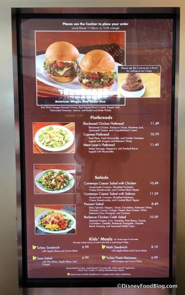 Contempo Cafe menu