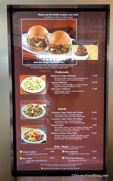 Contempo Cafe menu