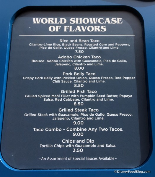 World Showcase of Flavors Menu