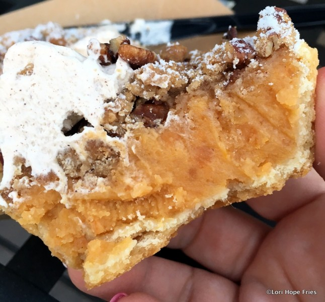 Sweet Potato Pie with candied pecans cross-section