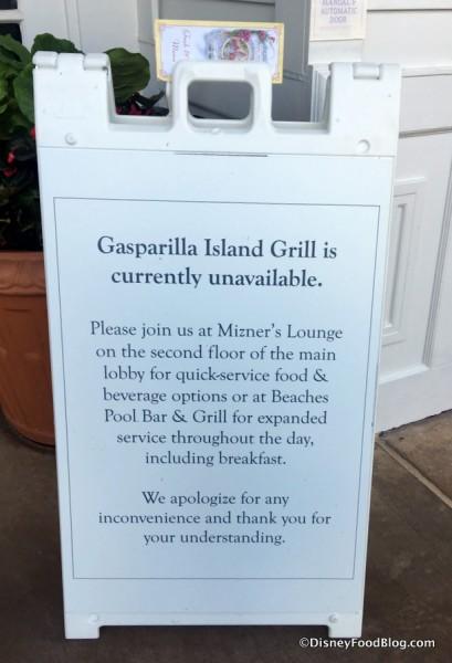 Gasparilla Grill Refurbishment sign