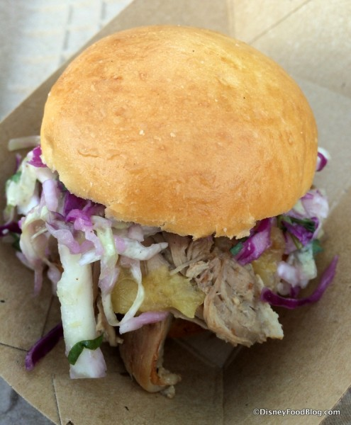 Kalua Pork Slider with pineapple jam and cider slaw
