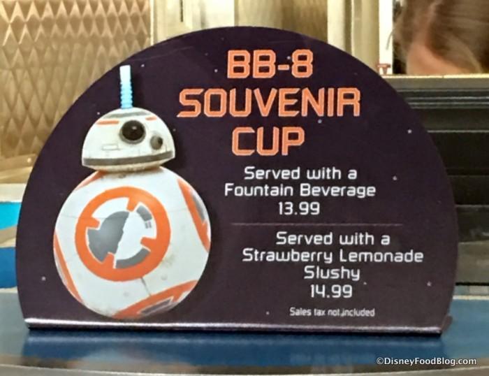 BB-8 Souvenir Cup sign