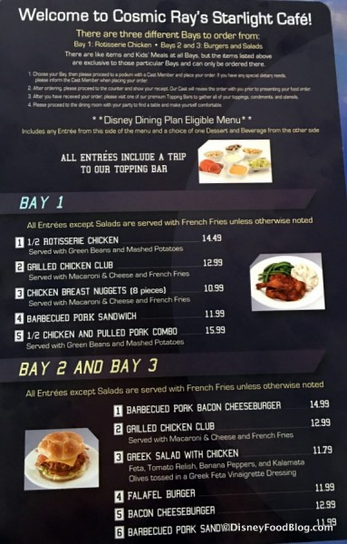 Cosmic Ray's Menu