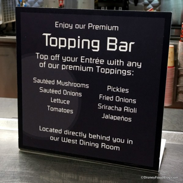 Cosmic Ray's Toppings Bar options