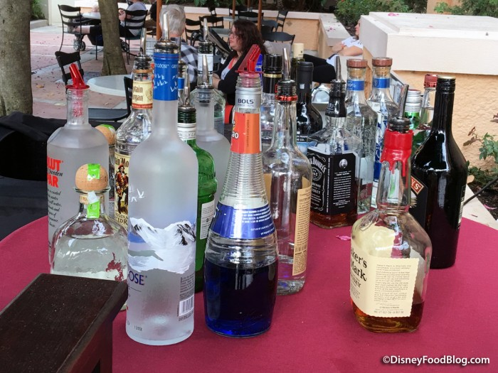 Liquors Available at the Pop-Up Bar