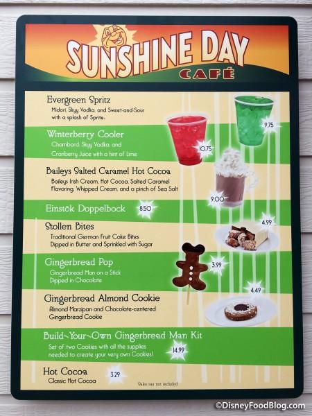 Sunshine Day Cafe Menu