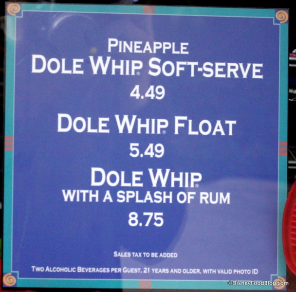 Dole Whip Menu Options