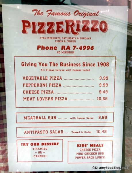 PizzeRizzo Menu posted in window