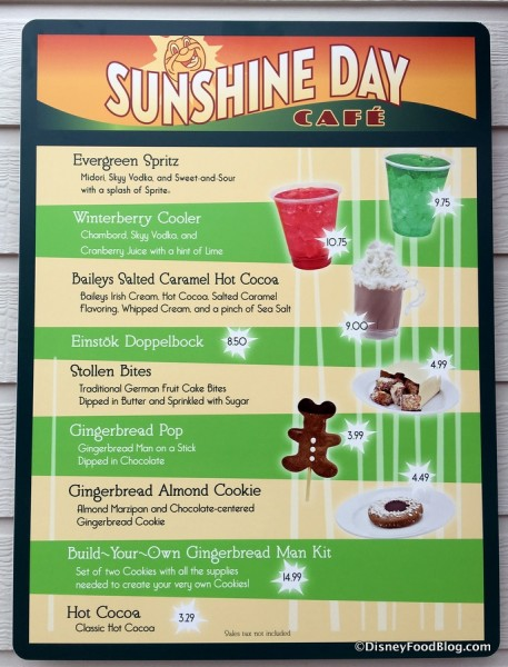 Sunshine Day Cafe Seasonal Menu