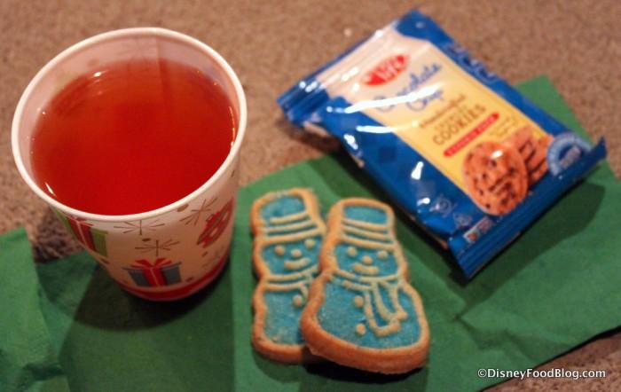 Apple Cider, Snowman Sugar Cookie, and Enjoy Life Cookies