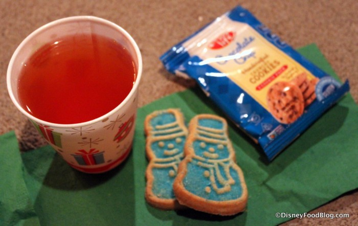 Apple Cider, Snowman Sugar Cookie, and Enjoy Life Cookies