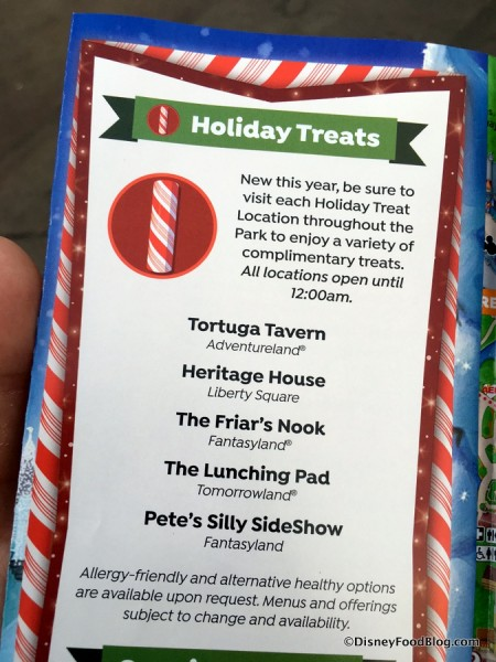 Complimentary Treat Locations on Guide