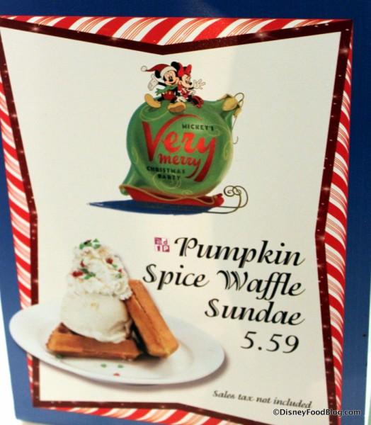 Pumpkin Spice Waffle Sundae sign