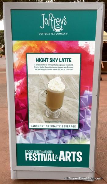 Joffrey's Night Sky Latte sign