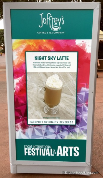 Joffrey's Night Sky Latte sign