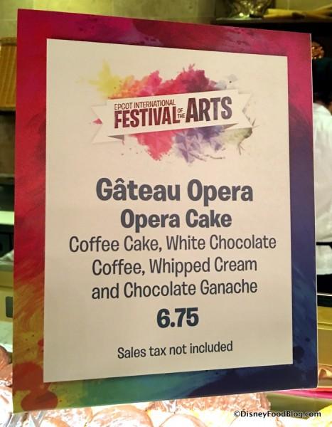 Opera Cake sign
