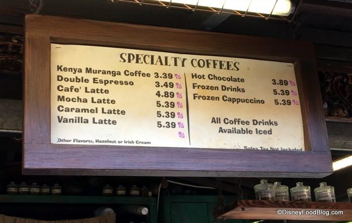 Specialty Coffee Menu
