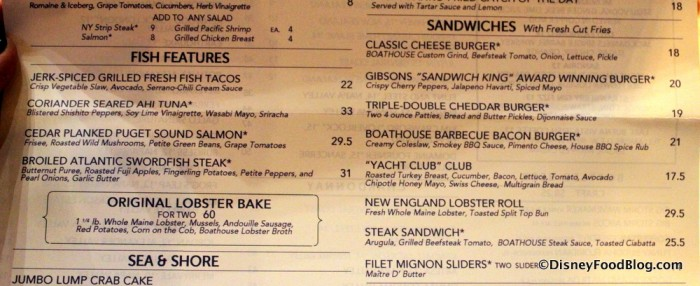 Menu -- Fish Features and Sandwiches -- Click to Enlarge