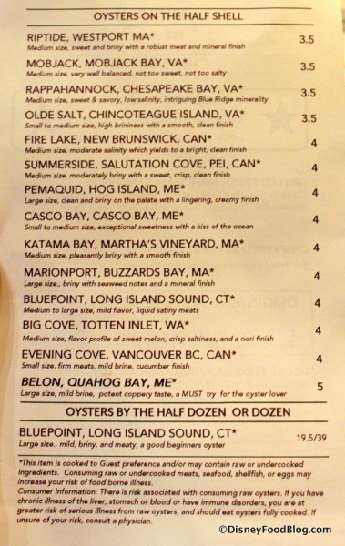 Menu -- Oyster Varieties -- Click to Enlarge