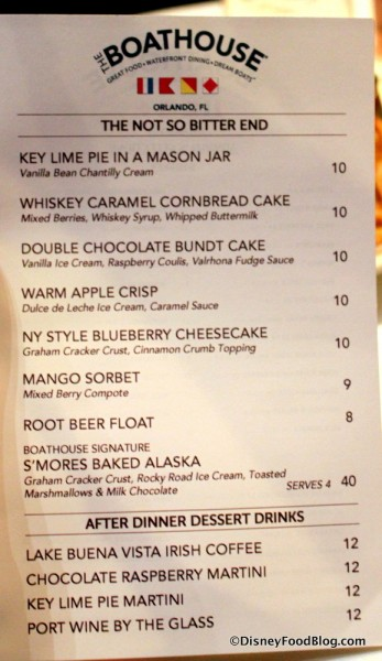 Menu -- Desserts -- Click to Enlarge