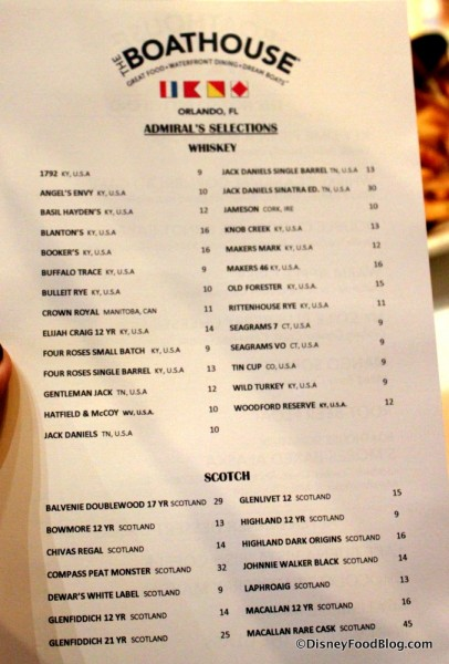 Menu -- Whiskey and Scoth -- Click to Enlarge
