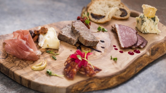 Charcuterie Palette with Artisan Cured Meats, Nueske's Smoked Duck Breast and Cheese  -- Masterpiece Kitchen Food Studio ©Disney